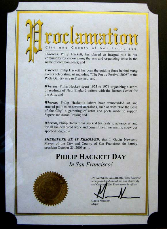 Philip Hackett Day Proclamation by SF Mayor Gavin Newsom